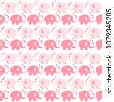 happy elephants  hand drawn... | Shutterstock .eps vector #1079345285