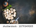 raw mushrooms  raw champignons  ...   Shutterstock . vector #1079349005
