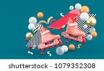 red sroller skates and red... | Shutterstock . vector #1079352308