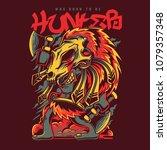 masked hunter illustration | Shutterstock .eps vector #1079357348