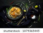 thai traditional food  pad thai ... | Shutterstock . vector #1079365445