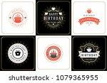 happy birthday cards design... | Shutterstock .eps vector #1079365955