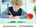 little caucasian schoolboy... | Shutterstock . vector #1079368286
