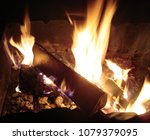 burning wood in brazier. dying... | Shutterstock . vector #1079379095