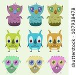 set of monsters   vector... | Shutterstock .eps vector #107938478