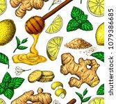honey  ginger  lemon and mint... | Shutterstock .eps vector #1079386685
