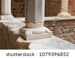 columns of the old stone castle | Shutterstock . vector #1079396852