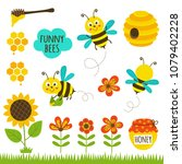 set of isolated funny bees and... | Shutterstock .eps vector #1079402228