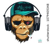 music fan hipster monkey in... | Shutterstock .eps vector #1079405348