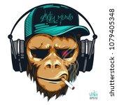 music fan hipster monkey in... | Shutterstock .eps vector #1079405348
