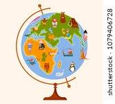 globe map for children. back to ... | Shutterstock .eps vector #1079406728