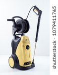 yellow high pressure washer on... | Shutterstock . vector #1079411765