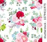 summer flowers seamless vector... | Shutterstock .eps vector #1079411975