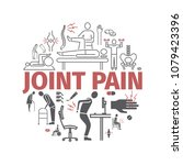 joint pain banner. icons set.... | Shutterstock .eps vector #1079423396