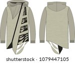 fashion flat drawing of... | Shutterstock .eps vector #1079447105