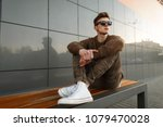 fashionable handsome hipster... | Shutterstock . vector #1079470028