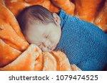 close up newborn baby sleeping... | Shutterstock . vector #1079474525