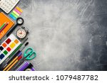 frame of school supplies on a... | Shutterstock . vector #1079487782