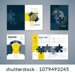 cover book design set  jigsaw... | Shutterstock .eps vector #1079493245