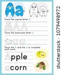alphabet tracing worksheet....   Shutterstock .eps vector #1079498972