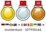 olympic medals with flags | Shutterstock .eps vector #107950166