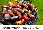 grilled sausages and vegetables ...   Shutterstock . vector #1079519762