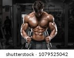 sexy muscular man in gym ... | Shutterstock . vector #1079525042