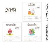 calendar 2019 with little... | Shutterstock .eps vector #1079527622