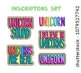 unicorn inscriptions set on a...   Shutterstock .eps vector #1079527742