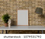 mock up frame on table with... | Shutterstock . vector #1079531792