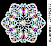 mandala brooch jewelry  design... | Shutterstock .eps vector #1079543972