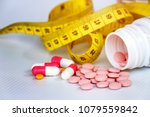 diet concept  slim by pills ... | Shutterstock . vector #1079559842
