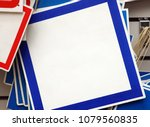 a square sign with a blue... | Shutterstock . vector #1079560835