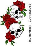skull and roses design as... | Shutterstock .eps vector #1079565068