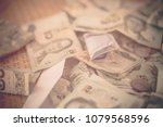 pile of banknote for background ... | Shutterstock . vector #1079568596