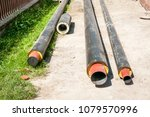close up of new insulated pipes ... | Shutterstock . vector #1079570996