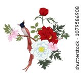 peonies and bird.floral... | Shutterstock .eps vector #1079586908