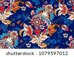 seamless pattern with paisley...   Shutterstock .eps vector #1079597012