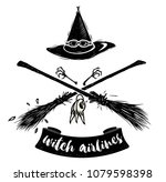 witch hat with gogles and two... | Shutterstock .eps vector #1079598398