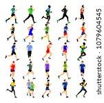 group of marathon racers... | Shutterstock .eps vector #1079604545