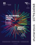 electronic music party poster.... | Shutterstock .eps vector #1079616068