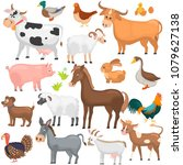 agricultute animals color flat... | Shutterstock .eps vector #1079627138