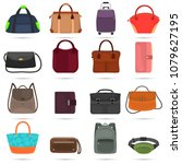 bags and wallets color flat... | Shutterstock .eps vector #1079627195