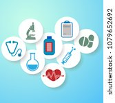medical icons on circular... | Shutterstock .eps vector #1079652692