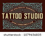 vintage template with floral... | Shutterstock .eps vector #1079656835