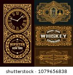 set of 4 cards with western... | Shutterstock .eps vector #1079656838
