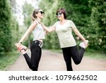 young and elder sports woman... | Shutterstock . vector #1079662502