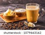 bulletproof coffee  blended...   Shutterstock . vector #1079663162