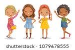 full length of cute little... | Shutterstock .eps vector #1079678555