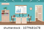 office room interior with two...   Shutterstock .eps vector #1079681678